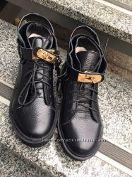 Зимние ботинки кожа черный, красный, марсал