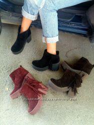Ботинки с бахромой замша на байке или полушерсть 36-41р