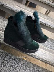 Зимние ботинки с мехом кролика разные расцветки