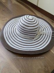 Летняя  пляжная шляпа с поляма белая с коричневым