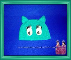 Шапка детская тёплая шапочка - Глазастик