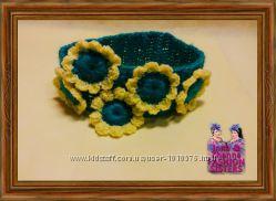 FlowersYellow - теплая, широкая повязочка для девочки