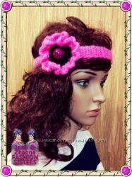 Анемона - розовый аксессуар - хайратник повязка на голову