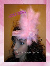 С розовыми перышками и жемчужным бисером