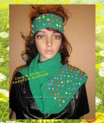 Комплект шарф и повязка Цветочная полянка