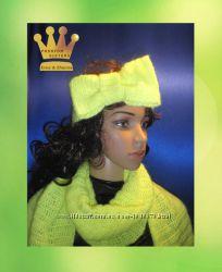 шарф и повязка на голову салатовый Неон