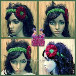 повязочка - веночек с цветочком на голову. Красивый цветок