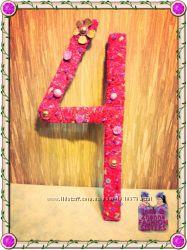 Цифры. Розовая, объёмная цифра 4 высота 52 см. Детский день рождения