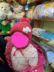Зимняя розовая шапочка на девочку 12-18мес.