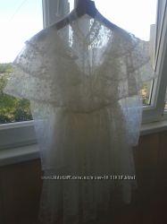 р 40-42свадебное гепюровое платье не венчаное бу 1день