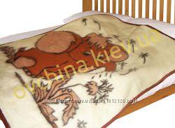 Детское одеяло из овчины с рисунком слоник 110 на 95