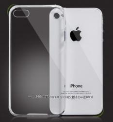 Прозрачный и золотой тонкий силиконовый чехол iphone 4 4s