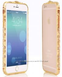 Золотой бампер с камнями Сваровски для Iphone 5 5S 6 6S