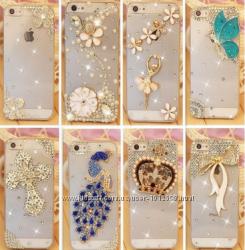 Чехол пластик с камнями для IPhone 4 4s 5 5S Swarovski