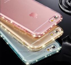 Силиконовый золотой чехол с камнями Сваровски для iphone 5 5s 6 6s 6pl7 7pl