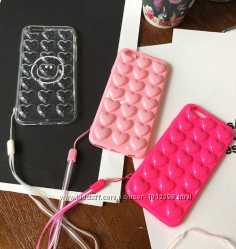 Силиконовый чехол розовые Сердца для iPhone 6 6S 7 7S