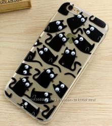 Силиконовый чехол с бегающими глазами для Iphone 5 5S 6 6S 7