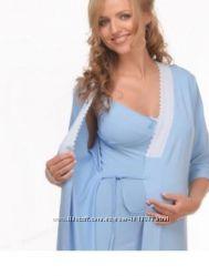 Комплект ночнушка с халатом для беременных, кормящих. Ежедневная отпрака.