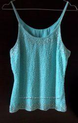 Вінтажна майка-блуза кольору Тіффані