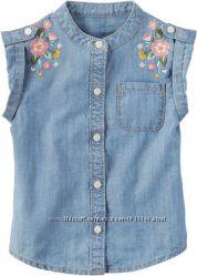 Рубашка Carter´s деним с вышивкой, одежда из США