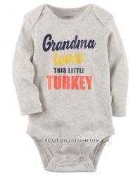 Колекционные боди от Carters с принтом Grandma Loves This Little Turkey, од