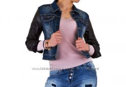Джинсовая куртка с кожанными рукавами Mozzaar Европа, размер М 38