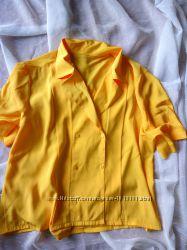 Блуза шифоновая желтая, с коротким рукавом, маечка