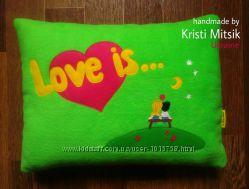 Подушка Love is - подарок на День Влюбленных