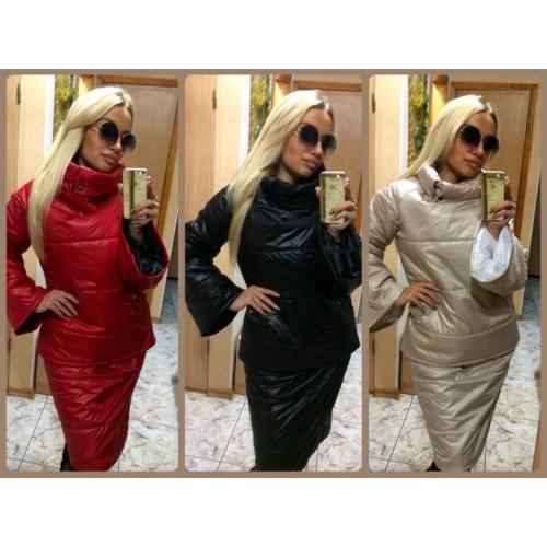 Женский зимний костюм с юбкой