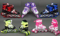 Роликовые коньки раздвижные Ролики детские BEST Black мягкие колеса