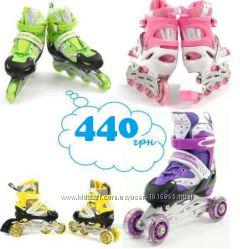 Роликовые коньки детские раздвижные BEST перестановка колес