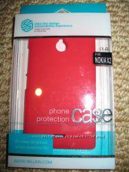 Защитный чехол бампер защитная пленка на экран Nillkin Nokia X2 Red красный