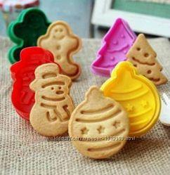 Новогодние формочки для выпечки печенья, фигурный пластик