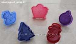 Новогодний набор формочек для выпечки песочного печенья, фигурный пластик