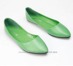 Зеленые лодочки Beyarne мягкая кожа, балетки, зауженный носок, 38р