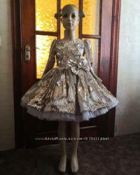 Платье Венеция из паеток - перевертишей серебро-золото