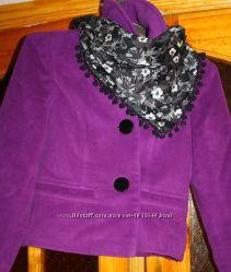 Сиреневое пальто демисезонное