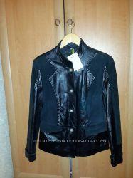 Куртка кожаная с замш вставками, размер Л Скидка