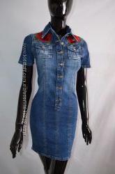 Стильное джинсовое платье с вышивкой Турция lux хс