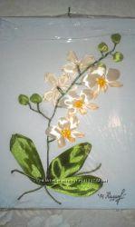 Панно орхидея. ручная работа. вышивка лентами
