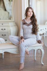 Пижама женская.  Нежные от ТМ SHATO. Кофточки длинный рукав, брюки.
