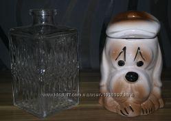 керамика шкатулка емкость для хранения собака горшок СССР