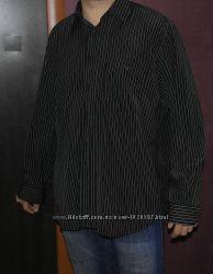 рубашка черная в полоску длинный рукав мужская