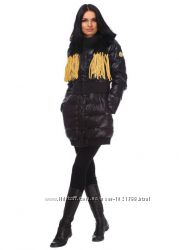 Стильный шарфик с лапшой цвета коньяка