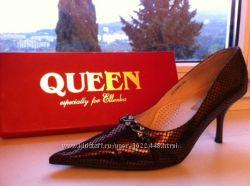 Туфли текстиль и кожа 39 размер, на узкую и среднюю ножку