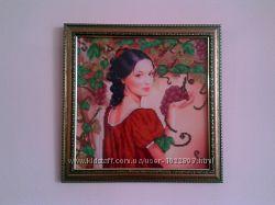 . мощное привличение изобилия. картина  Девушка с виноградом. чешский бисер