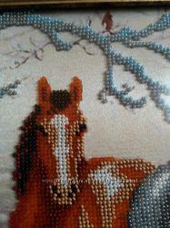 картина лошади зимой чешский бисер