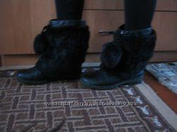 Кожаные зимние сапоги с натуральным мехом