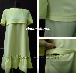 платье свободного кроя с оборкой по низу инд. пошив натуральные ткани