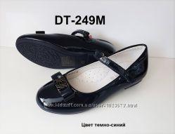 Красивые темно-синие детские школьные туфли для девочек